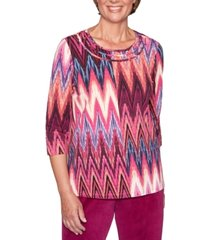 alfred dunner bright idea printed 3/4-sleeve top