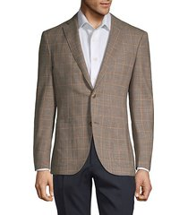 windowpane regular-fit wool, silk & linen blend jacket