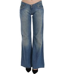 washed low waist flared denim pants jeans