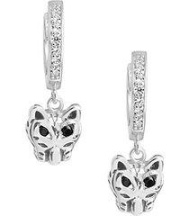 sterling silver & cubic zirconia panther micro hoop earrings