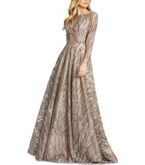 mac duggal sequined lace gown