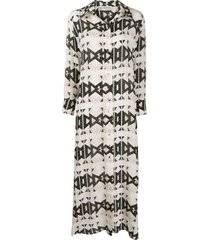 jessie western geometric print shirt dress - neutrals