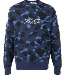 a bathing ape® camo logo print sweatshirt - blue