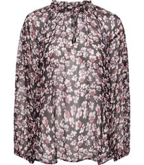 beautiful printed blouse with volumized sleeves, f rills aro blus långärmad multi/mönstrad second female