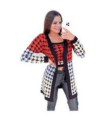 conjunto de trico pied poule multicolor laranja