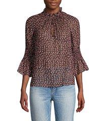 francesca silk & cotton ruffle blouse