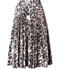 calvin klein leopard print pleated skirt - neutrals