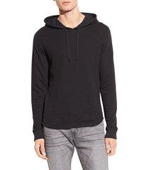 vince men's dbl waffle-knit hoodie - steel - size xl