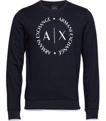 man jersey sweatshirt sweat-shirt trui blauw armani exchange