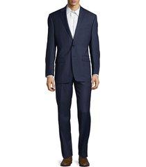 lauren ralph lauren men's check ultraflex classic-fit wool suit - blue - size 44 s
