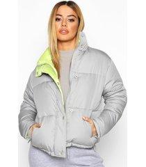 petite neon lining padded jacket, grey