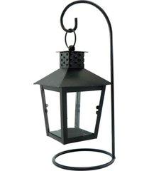 luminária porta vela de metal preta kasa ideia