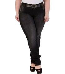 calça confidencial extra plus size skinny jeans feminina