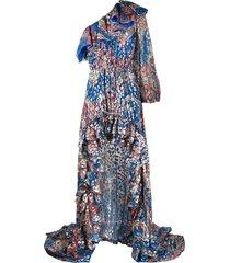 dundas lurex printed one-shoulder maxi dress - blue