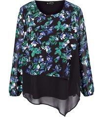 blouse m. collection zwart::blauw::groen