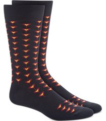 bar iii men's black tiled heart socks, created for macy's