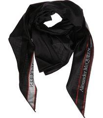 alexander mcqueen black wool-silk blend scarf