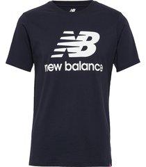 essentials stacked logo t t-shirts short-sleeved blå new balance