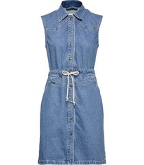 drawstring dress korte jurk blauw lee jeans