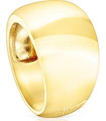 anillo basics abombado de plata vermeil dorado tous