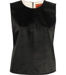 colville sleeveless zip-up top - black