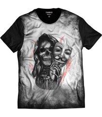 camiseta di nuevo caveira mascarada skull preta