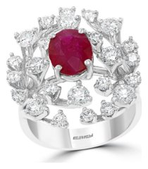 effy certified ruby (1-7/8 ct.t.w.) and diamond (1 7/8 ct.t.w.) ring in 14k white gold