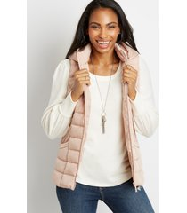 maurices womens pink hooded puffer vest