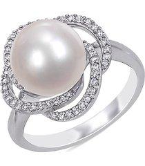 saks fifth avenue women's 14k white gold, 10-10.5mm freshwater pearl & diamond swirl ring/size 6 - size 6