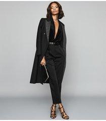 reiss rosalba - long sleeved velvet bodysuit in black, womens, size xl
