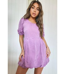 petite linen look puffball mini dress, lilac