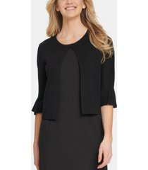 dkny long sleeve cardigan with godet detail