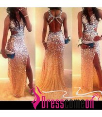 new ladies mermaid straps with beads crystals slit plus size prom/party dress