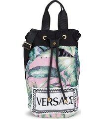 versace printed beach bag - black gold