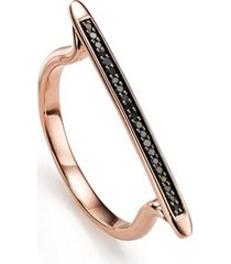 rose gold skinny stacking ring black diamond