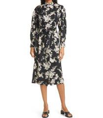 women's rebecca taylor gabrielle long sleeve silk blend dress, size small - black