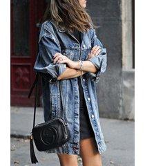 oferta de navidad detalles rasgados al azar azules abrigo de manga larga