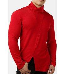 maglione a collo alto lavorato a maglia da uomo con maniche lunghe irregolari sottile nero