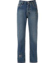eva bead embellished jeans - blue