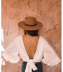 biały wiązany hippie top