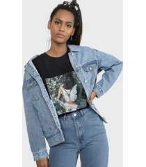 chaqueta missguided oversized denim jacket in blue denim missguided azul - calce oversize