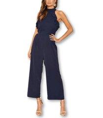 ax paris women's frilled cut out culotte jumpsuit