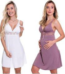 kit 2 camisola amamentação estilo sedutor em microfibra 1 branca e 1 lilás - es206-v51