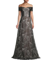 metallic off-the-shoulder gown