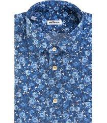 azure-blue/white cotton floral-print cotton shirt