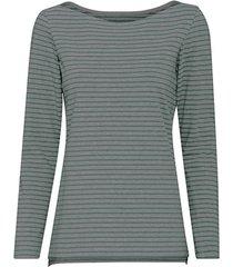 gestreept shirt van bio-katoen met lange mouw en boothals, grijs/jade-gemêleerd 46