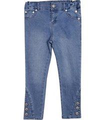 jeans aplicación botones celeste pillin