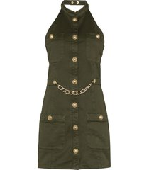 balmain military-style mini dress - green
