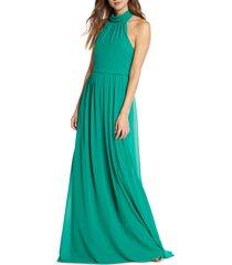 women's mark + james by badgley mischka mock neck maxi dress, size 0 - green