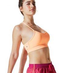 amaro feminino top esportivo detalhe costas, laranja